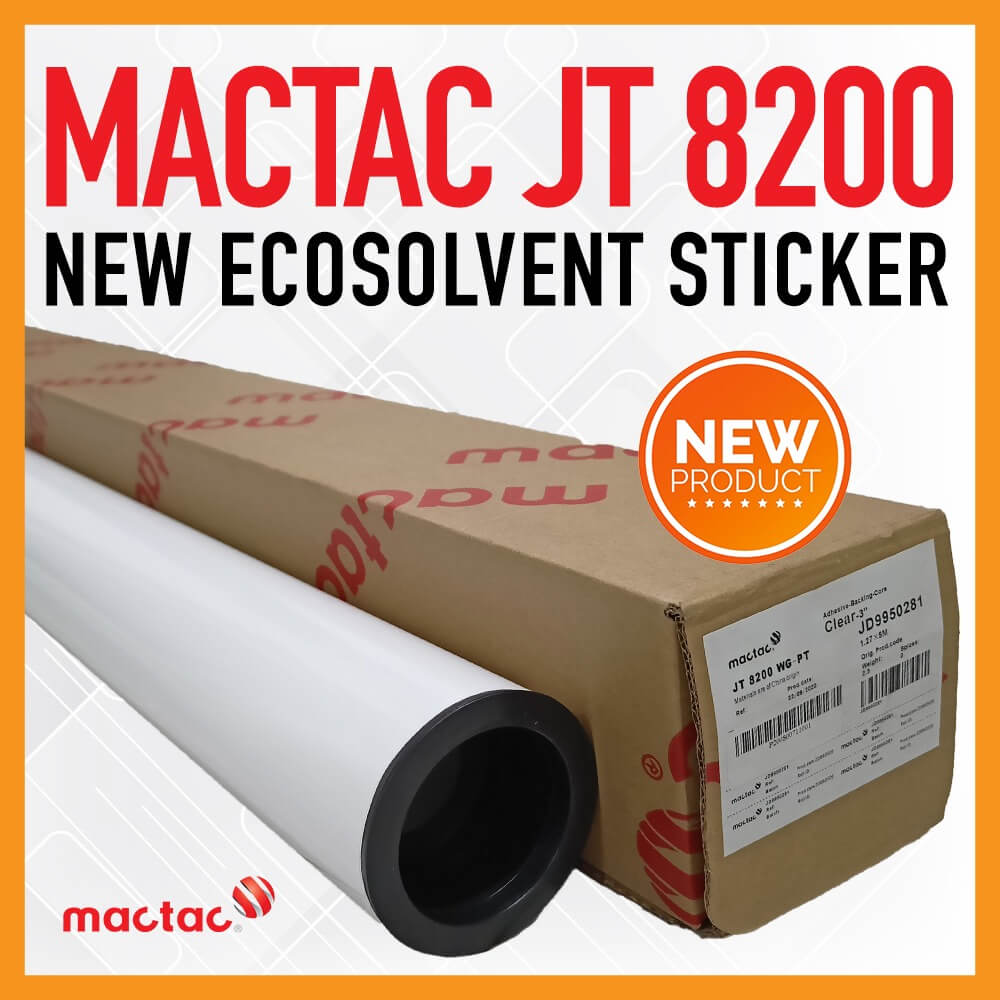 Sticker Ecosolvent MACTAC JT8200 Vinyl Decal Printable White Glossy 1,27x50mtr