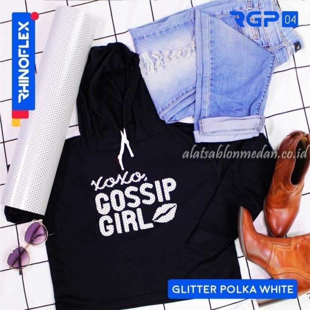 Polyflex Glitter Polka White
