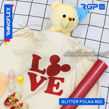 Polyflex Glitter Polka Red